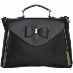 Romantická černá kabelka s mašlí