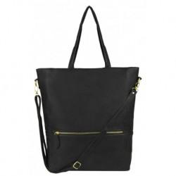 Objemná černá kabelka na rameno s dopínacím páskem