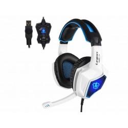 Herní sluchátka s mikrofonem Letton L10 7.1, modro-bílá